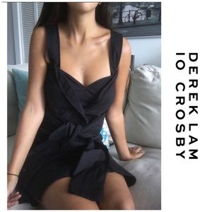 DEREK LAM 10 Crosby Black Tie Front Dress